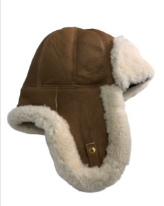 Real Sheepskin Hat Shearing Leather Bomber Trapper Hanukkahs Hunting Wool Lining