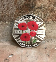 LEST WE FORGET 50P COIN SOUVENIR FIRST WORLD WAR 1918 Coloured / Kew Gardens New