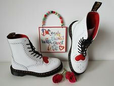 Dr Martens Bentley 1460 boots Heart White red 8 eye UK 5 EU 38 US 7 Wedding