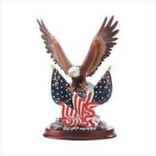 Eagle Patriotic American Bald Statue Figurine Flag Decor Sculpture Wood Home