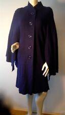 HAZEL / ANTHROPOLOGIE LADIES  violet blue boiled wool blend SWING COAT cape $298