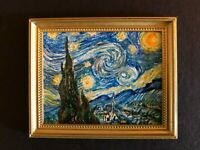 "Framed ""STARRY NIGHT "" a la van Gogh by IGMA Artisan Josephine Meyer - Dollhouse"