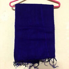 Blue Yak Wool Shawl Scarf Wrap Tibetan Nepalese Handmade Nepal YS07