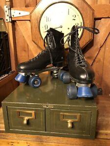 Vintage HYDE Black Leather Sure Grip Super X6L Skates Sz 8 Men's National Wheels
