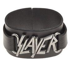 SLAYER LOGO WRISTBAND ALCHEMY Wrist Strap Black Real Leather OFFICIAL MERCH