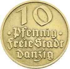 Danzig Freie Stadt 10 Pfennig Flunder 1932 A Alubronze #348