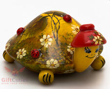 Wooden Tortoise Turtle w Ladybugs figurine handmade and hand painted in Russia