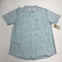 NWT Levi's Button Up Shirt Men's Size XL Short Sleeve Blue Floral Print Cotton