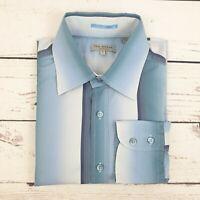 Mens Ted Baker Blue Stripe Long Sleeve Shirt Size 4 UK Size Large L