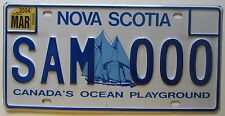 Nova Scotia 2004 SHIP GRAPHIC SAMPLE License Plate SUPERB QUALITY # SAM 000