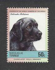 Dog Art Head Study Portrait Postage Stamp Black LABRADOR RETRIEVER Tuvalu MNH