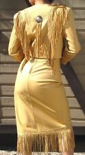 CONTINENTAL FRINGE LEATHER DRESS SUIT - JACKET and SKIRT - SIZE 5/6