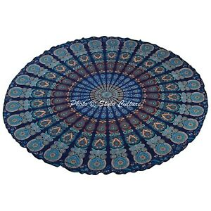 72 in. Round Table Cloth Dark Blue Indian Printed Peacock Feather Tablecloth