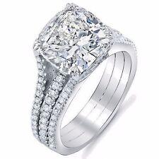 2.97 Ct Cushion Cut Split Shank U-Setting Diamond Engagement Ring I,VS1 GRA 14KG