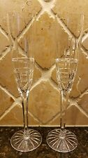 """PAIR OF SIGNED CESKA CRYSTAL SOLITAIRE PATTERN 10 1/2"""" CHAMPAGNE FLUTES"""