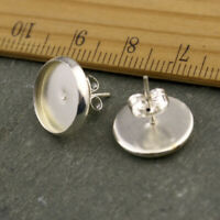 10pcs Sterling Silver Plated Earring Posts Ear Studs With Cab Base Bezel Setting