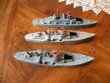 Vintage Tootsietoy Die Cast Ships Set of 3 Destroyer and Aircraft Carriers - Usa