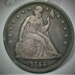 1844 USA Seated Liberty Silver Dollar in XF Condition (427)