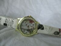 Shabby Chic Paris Post Card Design Wristwatch w/ Adjustable Band WORKING!