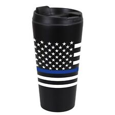 Rothco Thin Blue Line SS Black Travel Cup Mug 16oz Police Law Enforcement #1299