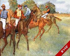 HORSE JOCKEYS GETTING READY TO RACE RACING ART PAINTING REAL CANVAS PRINT