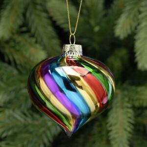 Multi Coloured Glass Onion Vintage Retro Glass Christmas Tree Bauble