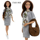 FAO-063 Tunic-dress scarf  bag outfit for Barbie MTM and similar 12''dolls