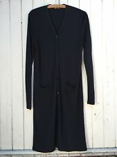 DKNY black duster jacket dress button down long sleeve minimal slinky robe M