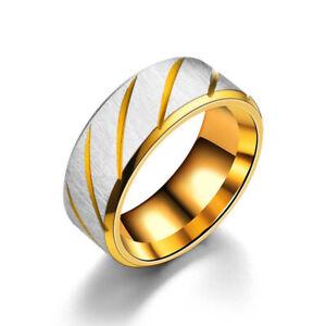 Titanium Stainless Steel 8mm Brushed Finish Men Women Wedding Band Comfort Ring