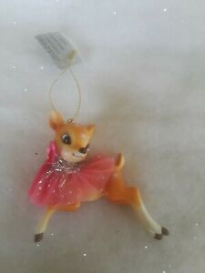 Vintage style deer ornament  Pink / Blue bow Kitschy Christmas