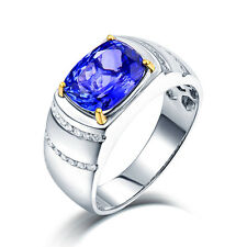 Real 14K White Gold Enagement Tanzanite & Diamond Wedding Fine Men Ring