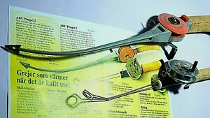 60's vintage ABU Pimpel 1 & 2 early model ice-fishing rod/reel combo-used/xclnt