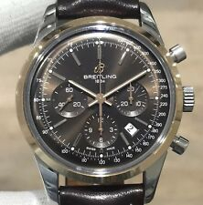 BREITLING Transocean Chronograph Steel & 18k Rose Gold -UB0152- Chocolate Dial