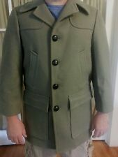 Vintage Pendleton Wool Overcoat Coat Men's Large? Green Grey Leather Buttons