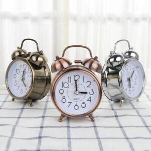 Metal Twin Bell Alarm Clock Vintage Retro Loud Clocks Desk Bedside Night Light
