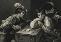 Cards Gambling cheating coins gamesters c.1870 steel engraved print
