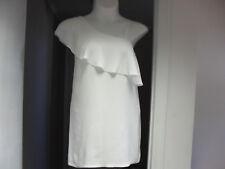 Short Size 6 White Mini Dress Ruffle One Shoulder Club Dress Designer NWT $119