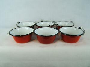 Servierkessel - Set 6 x 0,8 l Gulaschkessel Rot - Weiß
