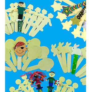 Wooden SHAPE Sticks for Children's Arts & Crafts . Various Designs