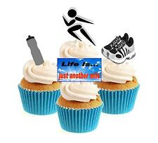 Novelty Running Mix 12 Edible Stand Up wafer paper cake toppers birthday runner