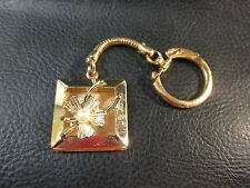 Vintage Gold Tone Mesh Keychain Lucky Clover Horseshoe