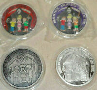 Set Of 4 NO EVIL .999 Silver Art Rounds Bars Proof Antique Enamel Variant CMG