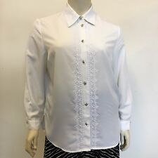 Lyndella Ladies White Embroidered Vintage Button Blouse Shirt UK Plus Size 20/22