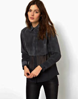 NWT Premium Carbon Suede Genuine LEATHER Shirt by asos  UK 6 8 10 12 14 16 18