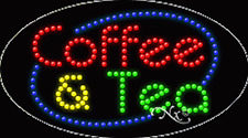 "New ""Coffee & Tea"" 27x15 Oval Solid/Animated Led Sign W/Custom Options 24578"