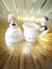VTG Enesco Dutch Girl & Boy Figurine Sugar & Cream Creamer Jar Pitcher