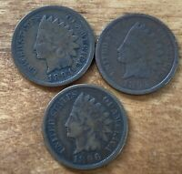 FREE SHIP! Lot of 3 VG Indian Head Cents 1894 1895 1896 -120 Year Old Pennies L1