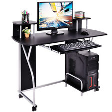 Rolling Computer Desk PC Laptop Desk Pull Out Tray Home Office Workstation Black