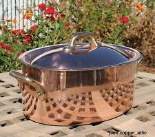New listing Copper 2.5 Qt Oval Dutch Oven w/ tin lining, Made in France