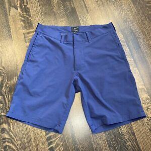 "Mens 30 J.CREW Navy STRETCH Nylon Shorts 9"" Inseam Short Black Label Flat Front"